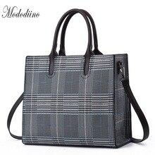 Mododiino Striped Women Bag PU Leather Handbag Large Capacity Womens Tote Purse New Elegant Shoulder Crossbody DNV1206
