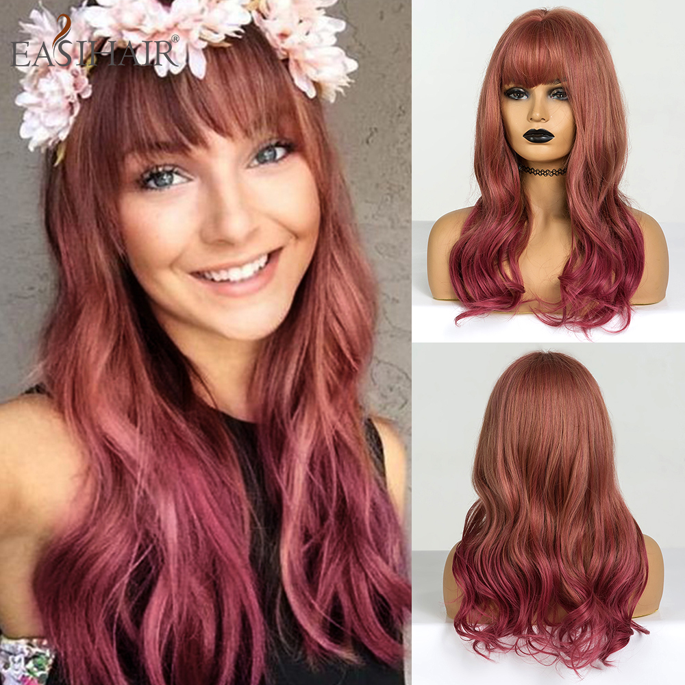 EASIHAIR Medium Dark Red Ombre Wave Wigs With Bangs Synthetic Wigs For Black Women Afro Wavy Cosplay Wig Heat Resistant