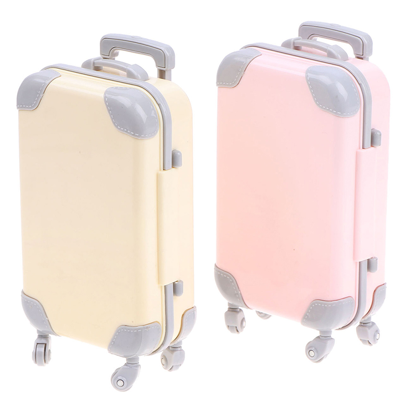 Mini Plastic Play House 3D Travel Train Suitcase Luggage Doll Toys for Children