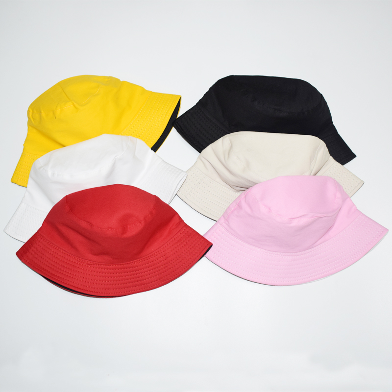 2020 Solid Double Sided Double Side Bucket Hat Hip Hop White Fisherman Hat Outdoor Travel Hat Sun Cap Hats For Men And Women