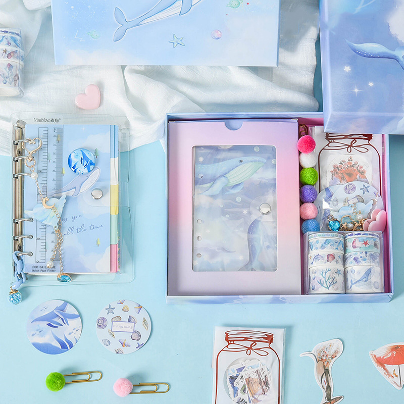 44Pcs Kawaii Ocean Starry Sky Diary Journal PP Transparent Loose Leaf Notebook Stationery Set Clips Stickers Tape Gift Box