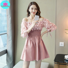 2019 early autumn new ladies temperament word collar slim dress Lace  Three Quarter Patchwork