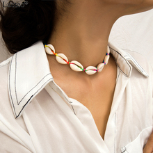 Lacteo Bohemian Natural Shell Short Collar Choker Necklace Women Summer Beach Adjustable Colorful Rope Chain Jewelry