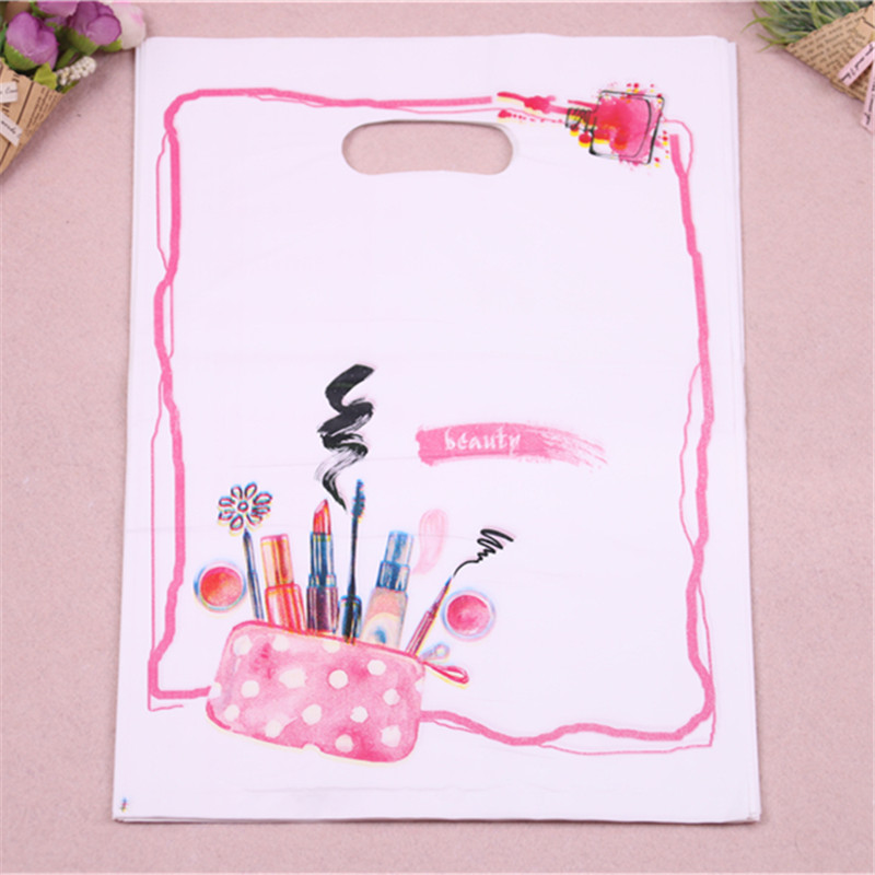 Hot Sale New Design Wholesale 100pcs/lot 25*35cm Large Simple Luxury Plastic Gift Packing Bags For Lipstick Costume Packaging