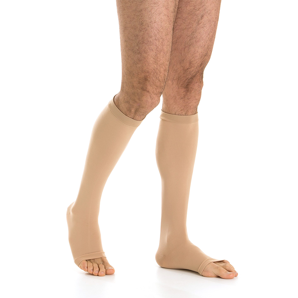 Men Medical Knee High Open Toe Compression Stockings Support 20-30 MmHg Socks Calf Sleeve Hose Pain Varicose Veins Edema Flight