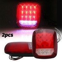 2pcs 16 LED Stop Tail Turn Signal Light Brake Clearance Marker Lights Red/White for Jeep YJ JK CJ Truck Trailer