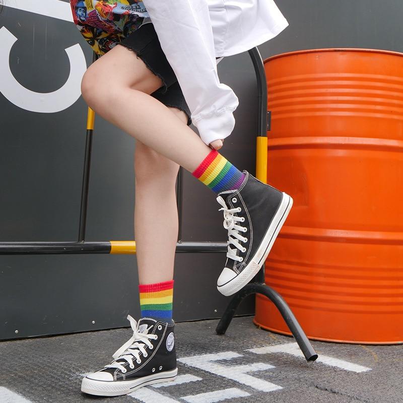 Fashion Couple Men Women Cotton Socks Harajuku Rainbow Print Stripe Cute Socks Hip Hop Street Skateboard Happy Funny Socks Short