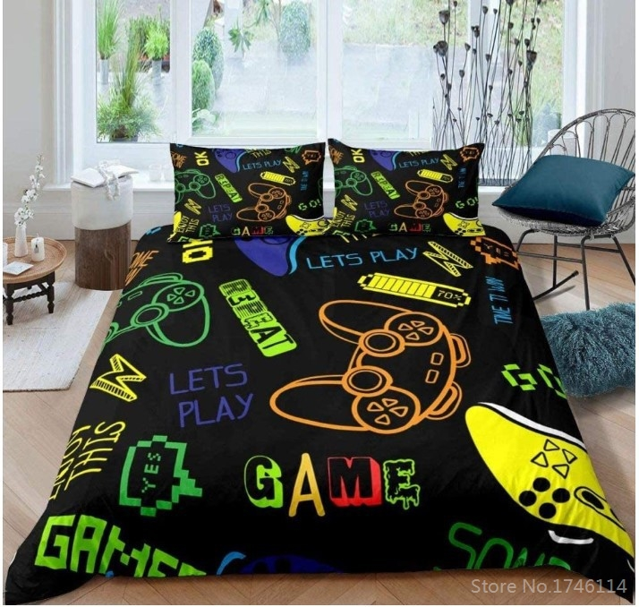 Soft Brushed Microfiber Bedding with Fitted Flat Sheet Pillow Case for Gamer Room Teen Boys Girls Kids Decorative Play Station Box Gift Decore Gamepad Full Video Game Controller Sheets Set
