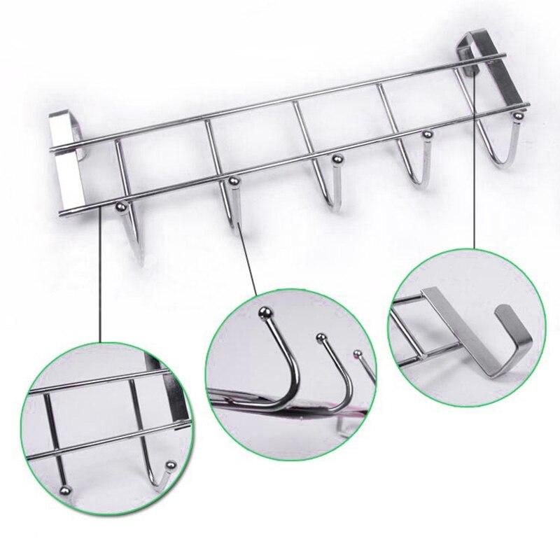 5-Hooks Cabinet Door Hanging Rack Organizer Clothes Hanger Towel Hooks  New High Quality