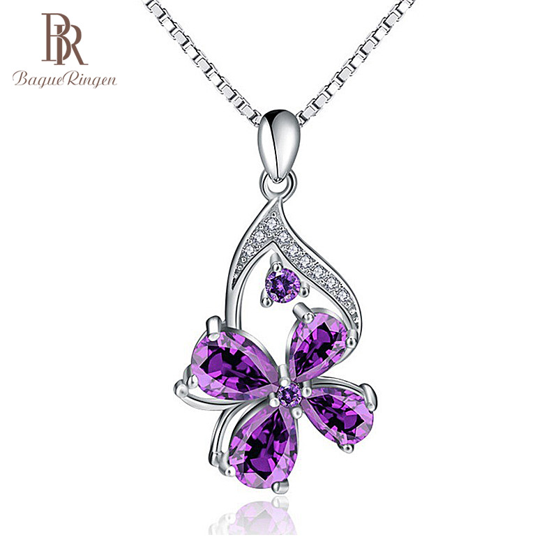 Bague Ringen Unique Designer 925 Sterling Silver Pendant Purple Amethyst Pendant Woman Jewelry Engagement Lady Party Gift
