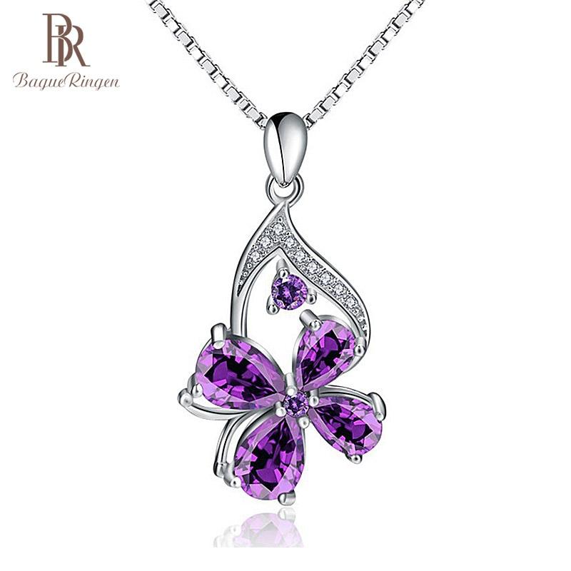 Bague Ringen Unique Designer 925 Sterling Silver Pendant Purple Amethyst Pendant Woman Jewelry Engagement Lady Party Gift