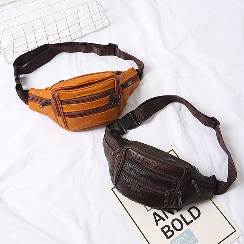 Belly Banana Bum Hip Chest Money Belt For Men Women Waist Bag Leather Male Female Fanny Pack Pouch Murse Purse Kidney Row Bumbag