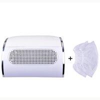 Poderoso coletor de sucção de poeira do prego com 3 ventilador aspirador de pó ferramentas manicure com 2 sacos coleta de poeira