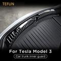 Внутренняя защита багажника из нержавеющей стали для Tesla Model 3 2017-2021, внутренняя защитная пластина заднего бампера автомобиля, обшивка, новый...