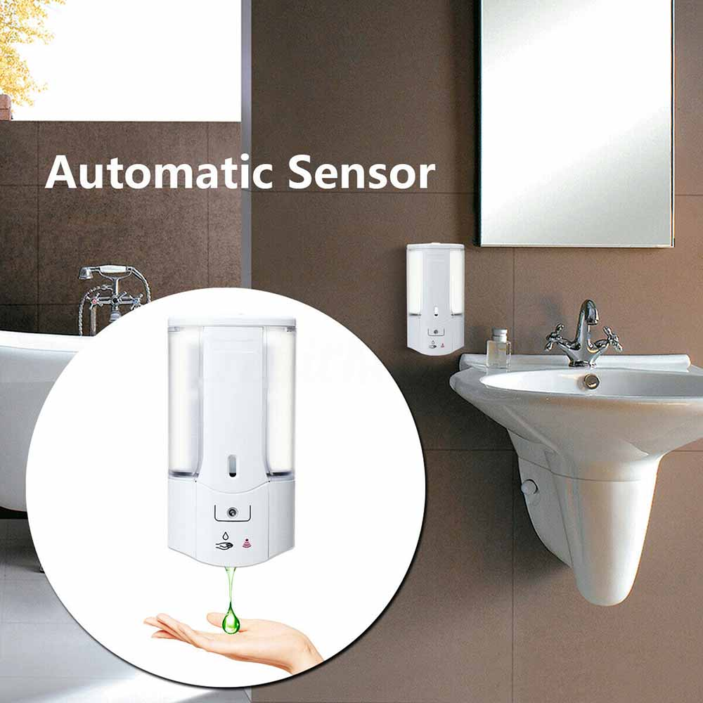 Hda35152e32344ff4856b7e5aa2a7b096d 400ml Automatic Soap Dispenser Wall-Mounted Sensor Soap Dispenser Contactless Hand Sanitizer Shampoo Container Home Bathroom