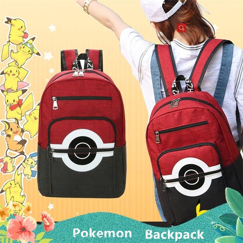 Hot New Japan Anime Game Pokemon Backpack Poke Ball Cosplay Canvas Student Schoolbag Knapsack Gift
