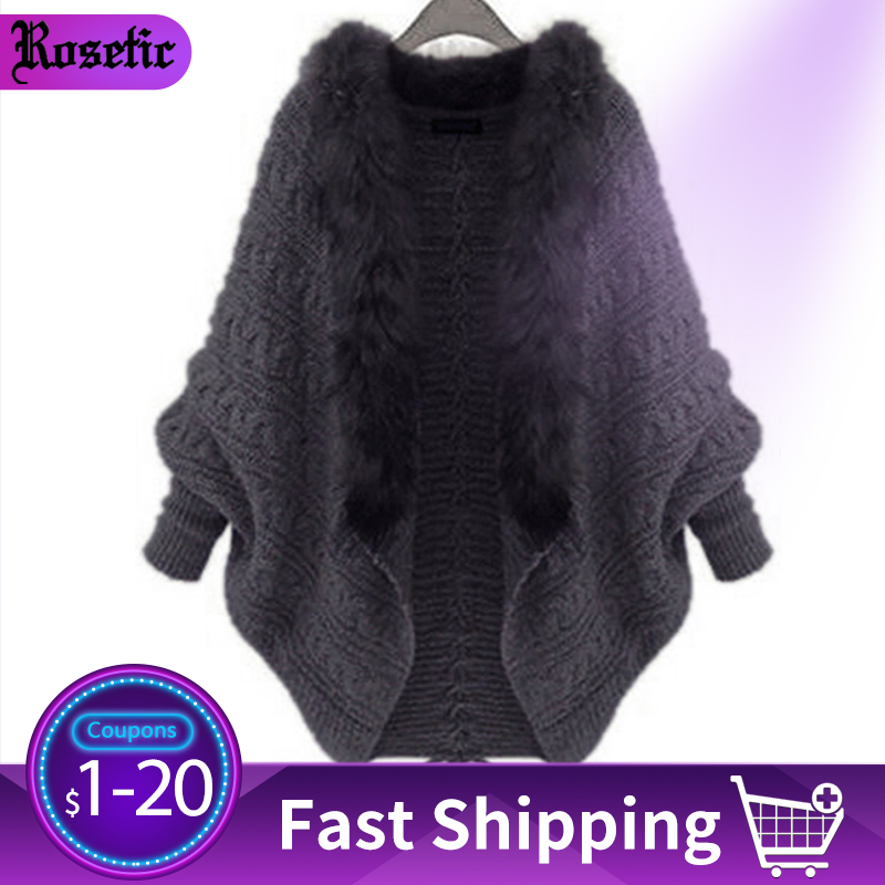 Rosetic Women Knitted Sweater Cape Coat Winter Cardigan Fake Fur Collar Warmness Gothic Knitwear Tops Batwing Sleeve Outerwear