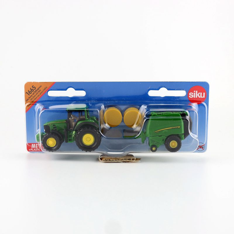 SIKU 1665/DieCast Metal Model/John Deere Tractor With Round Baler Toy Car/Educational/for Children's Gifts Or Collection/Small