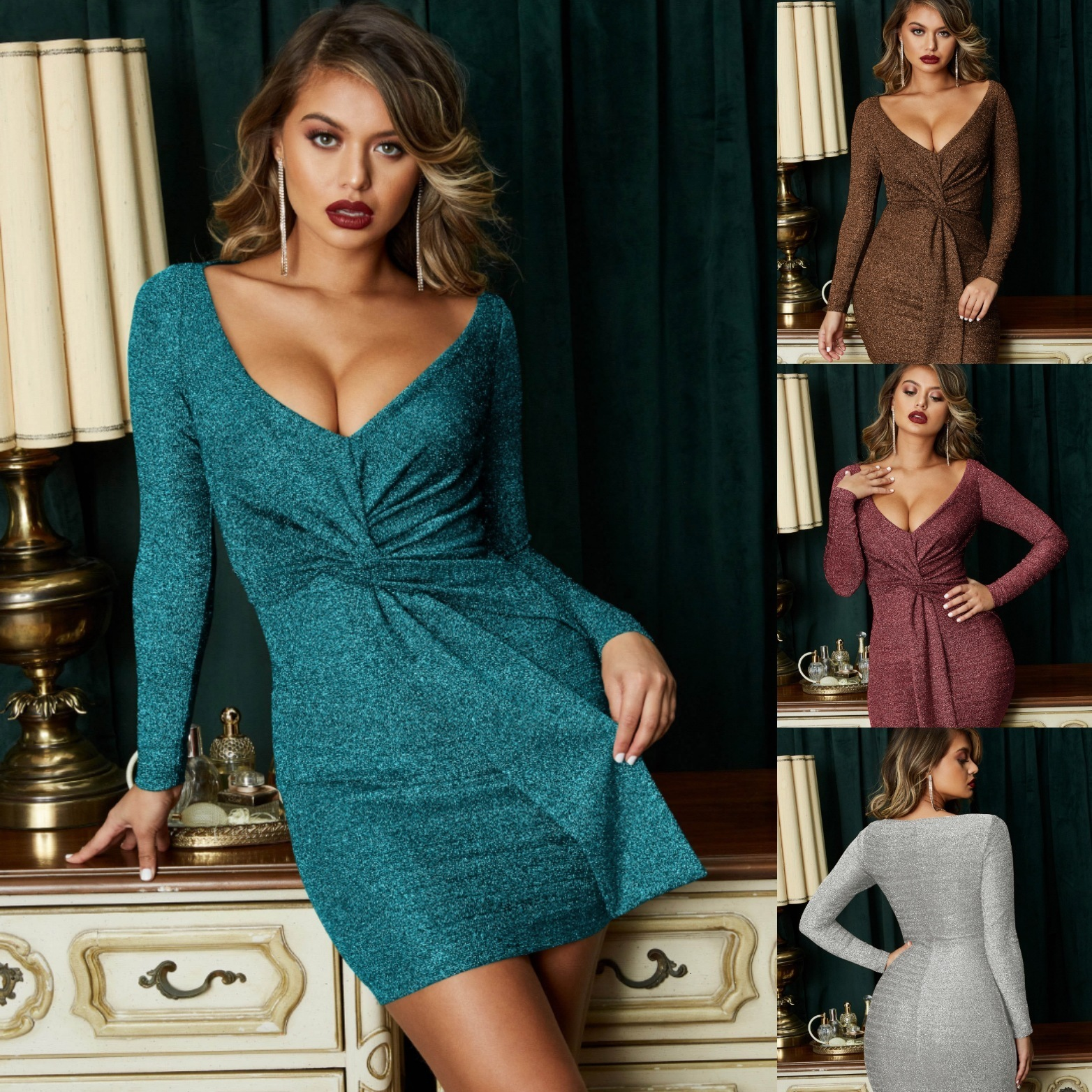 BacklakeGirls Mini Cocktail Dresses Special Occasion Sexy Long Sleeve Slim Fit Elegant Solid Color Cocktail Dresses With Sash