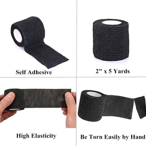 Image 3 - 6pcs Tattoo bandage roll self adherent cohesive tape sports tape wrist self adhesive for tattoo cover accessories black color