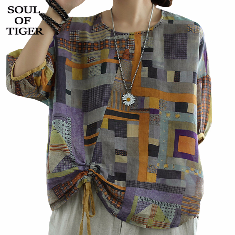 SOUL OF TIGER New 2020 Summer Korean Fashion Ladies Vintage Tops Womens Casual Linen Shirts Short Sleeve Plaid Blouses Plus Size