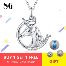 New Design 925 Sterling silver Cute Animal Unicorn Necklaces & Pendants With White CZ For Women Silver Jewelry Gift