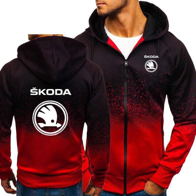 Hoodies Men Skoda Car Logo Print Casual HipHop Harajuku Gradient Color Hooded Mens Fleece Sweatshirts Zipper Jacket Man Clothing