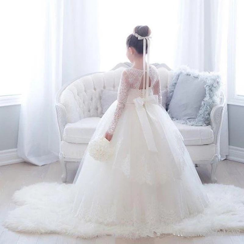 Lace Long Sleeves Ball Gown Flower Girl Dress for Wedding Party Birthday