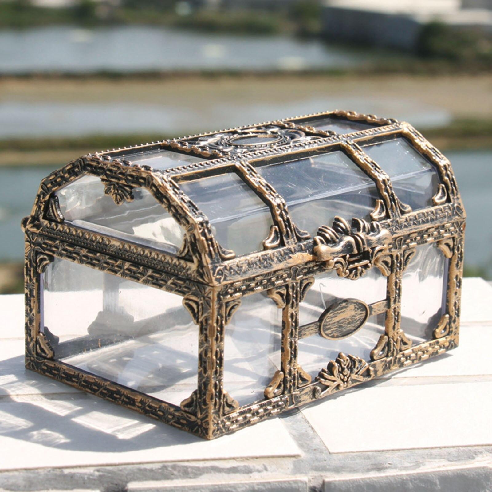 Ретро Пластик прозрачный пиратский Treasure Box кристальных камней, шкатулка для хранения Организатор Брелок сувенир сундук