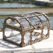 Retro plástico transparente pirata tesouro caixa de cristal jóia caixa de armazenamento organizador trinket lembrança tesouro baú