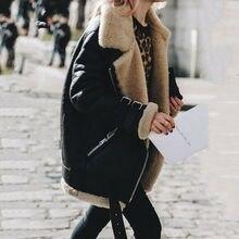 Winter Women Coat Warm Deerskin Cashmere Zipper Turn Down Jacket Fashion Female