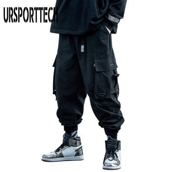 URSPORTTECH 2020 Black Cargo Pants Men Hip Hop Autumn Harem Pant Streetwear Harajuku Jogger Sweatpant Cotton Trousers Male Pants 1