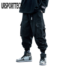 URSPORTTECH 2020 Black Cargo Pants Men Hip Hop Autumn Harem Pant Streetwear Harajuku Jogger Sweatpant Cotton Trousers Male Pants cheap Pencil Pants Flat Pockets Loose Full Length MP22102 Midweight Broadcloth Elastic Waist Asian Size Man Men Male Teenagers