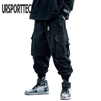 URSPORTTECH 2020 Black Cargo Pants Men Hip Hop Autumn Harem Pant Streetwear Harajuku Jogger Sweatpant Cotton Trousers Male - discount item  48% OFF Pants