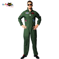 Eraspooky Top Gun Movie Cosplay American Airforce Uniform Halloween Costumes For Men Adult Army Green Military Pilot Jumpsuit