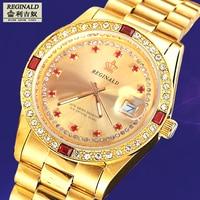 2020 Mens Watch Gold Luxury Brand Diamend Quartz Wristwatch Luminous Fashion Japan Movement Geneva Designer 36mm Gift for Men