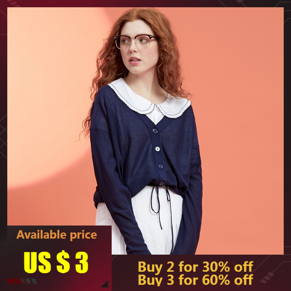 Metersbonwe Knitted Cardigan Sweater Women 2019 Summer Simple Solid Bottom Light Thin Clothing Fashion Cardigan For Female