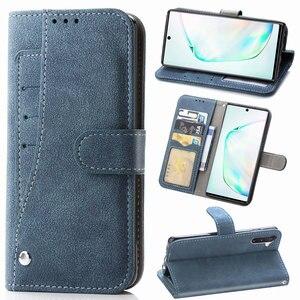 Image 1 - Чехол бумажник с откидной крышкой, чехол для телефона Samsung Galaxy Note 10 Plus, откидная подставка, не Note10 10 Plus Note10 + с карманом для карт, оболочка, чехлы
