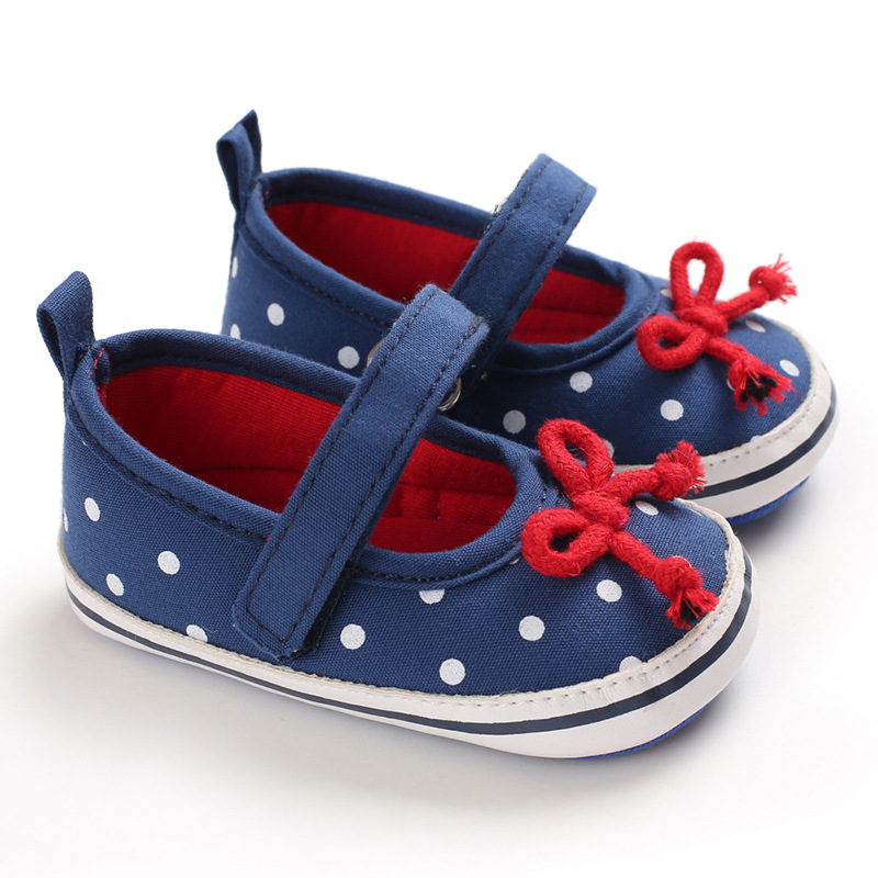 Dot Bows Baby Shoes For First Walkers Soft Sole Newborn Toddler Shoes Non-Slip Infant Baby Girl Shoes Baby Schoenen Slofjes
