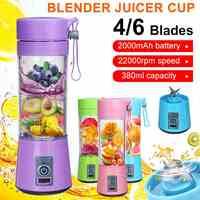 380ml 4/6 Klingen Tragbare Elektrische Obst Entsafter Hause USB Aufladbare Smoothie Maker Mixer Maschine Sport Flasche Entsaften Tasse