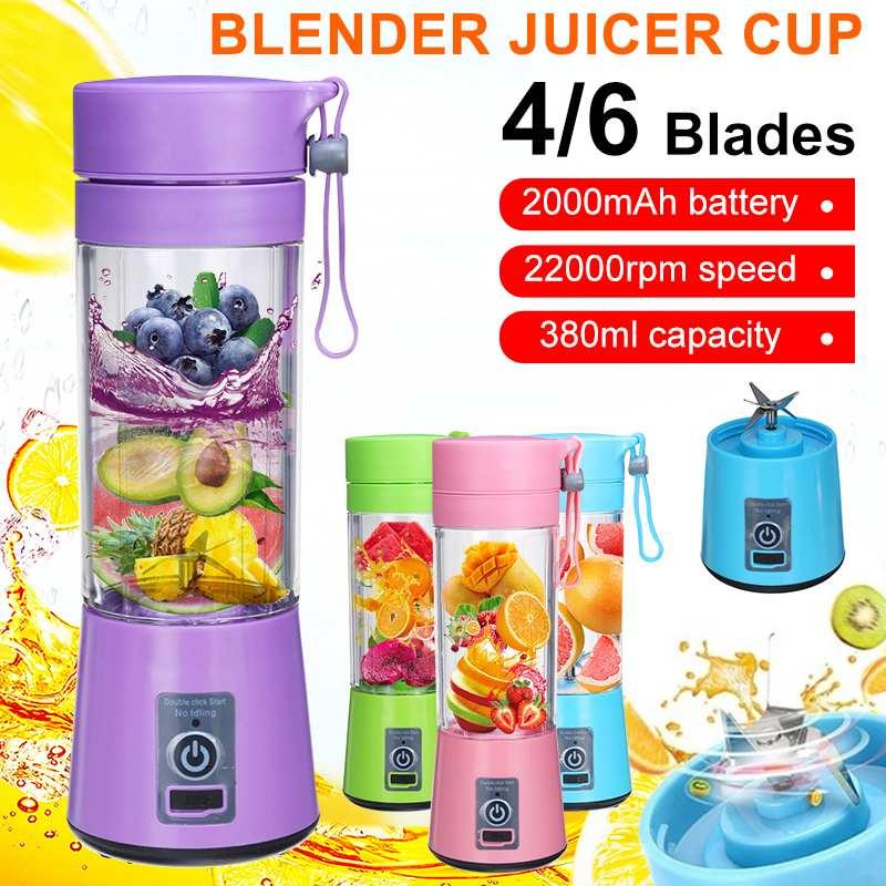 380ml 4/6 lâminas espremedor de frutas elétrico portátil casa usb recarregável smoothie maker liquidificadores máquina esportes garrafa juicing copo