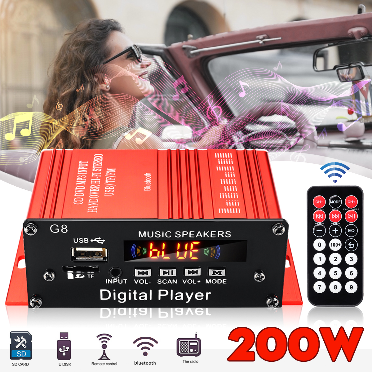 2CH 12V Car Home Stereo Sound <font><b>Amplifiers</b></font> <font><b>HIFI</b></font> Audio <font><b>Amplifier</b></font> bluetooth Car Amplificador FM Radio Music Player Remote Control image