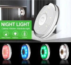 Image 3 - Âm Trần Cảm Biến Cảm Ứng Pin Đèn LED Dưới Tủ Màu Có Remote Không Dây Chiếu Sáng Nhà Bếp Đêm Đèn Tủ Quần Áo Phòng Ngủ Puck Ánh Sáng