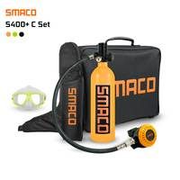 SMACO S400 PLUS Set 1L Mini Scuba Diving Cylinder Oxygen Tank with Upgraded Breathing Valve Scuba Adapter Outdoor Handbag