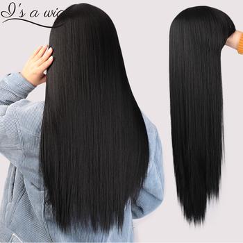 Jestem peruką czarna peruka z długich prostych włosów z Bangs syntetyczne peruki do włosów dla kobiet 613 blond czerwone żaroodporne Cosplay peruki tanie i dobre opinie I s a wig Wysokiej Temperatury Włókna Proste 1 sztuka tylko Średnia wielkość