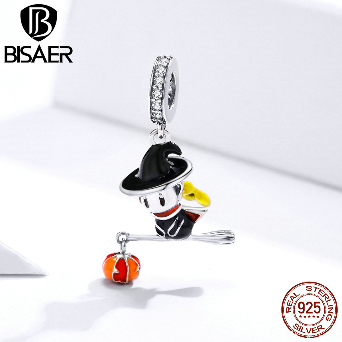 BISAER Magic Witch & Pumpkin Light Charm 925 Sterling Silver Black Enemal Pendant Bead For DIY Bracelet Necklaces Jewelry EFC240