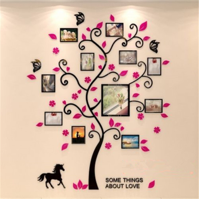 Acrylic 3D Family Photo Frame Tree Wall Stickers Removable DIY Art Wall Poster Decals Poster For Living Room Bedroom Home Decor 3
