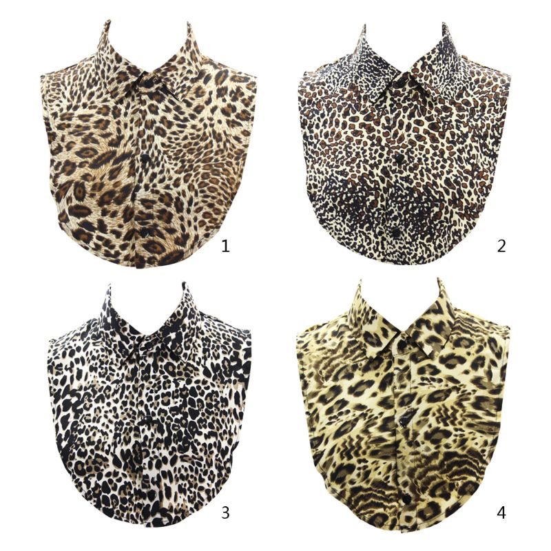Stylish Women Leopard Animal Printed Linen Fake Collar Lady Female Casual Sweater Half-Shirt Decor Detachable Collar