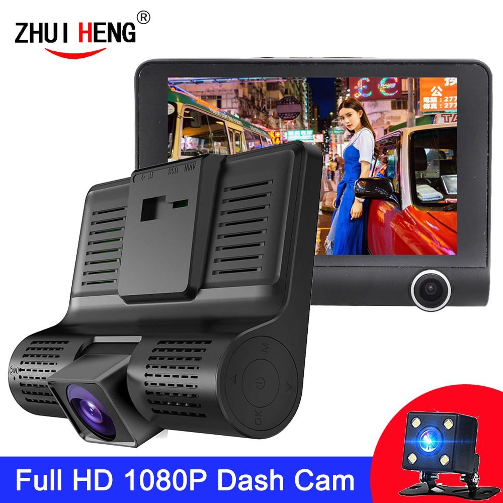 Автомобильный видеорегистратор с 3 камерами и объективом 4,0 дюйма, видеорегистратор с двумя объективами, камера заднего вида, видеорегистра...