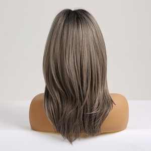Image 3 - EASIHAIR Medium Length Ash Grey Synthetic Wigs for Women Wigs with Bangs Layered Cosplay Wigs Blonde Daily Heat Resistant Wigs